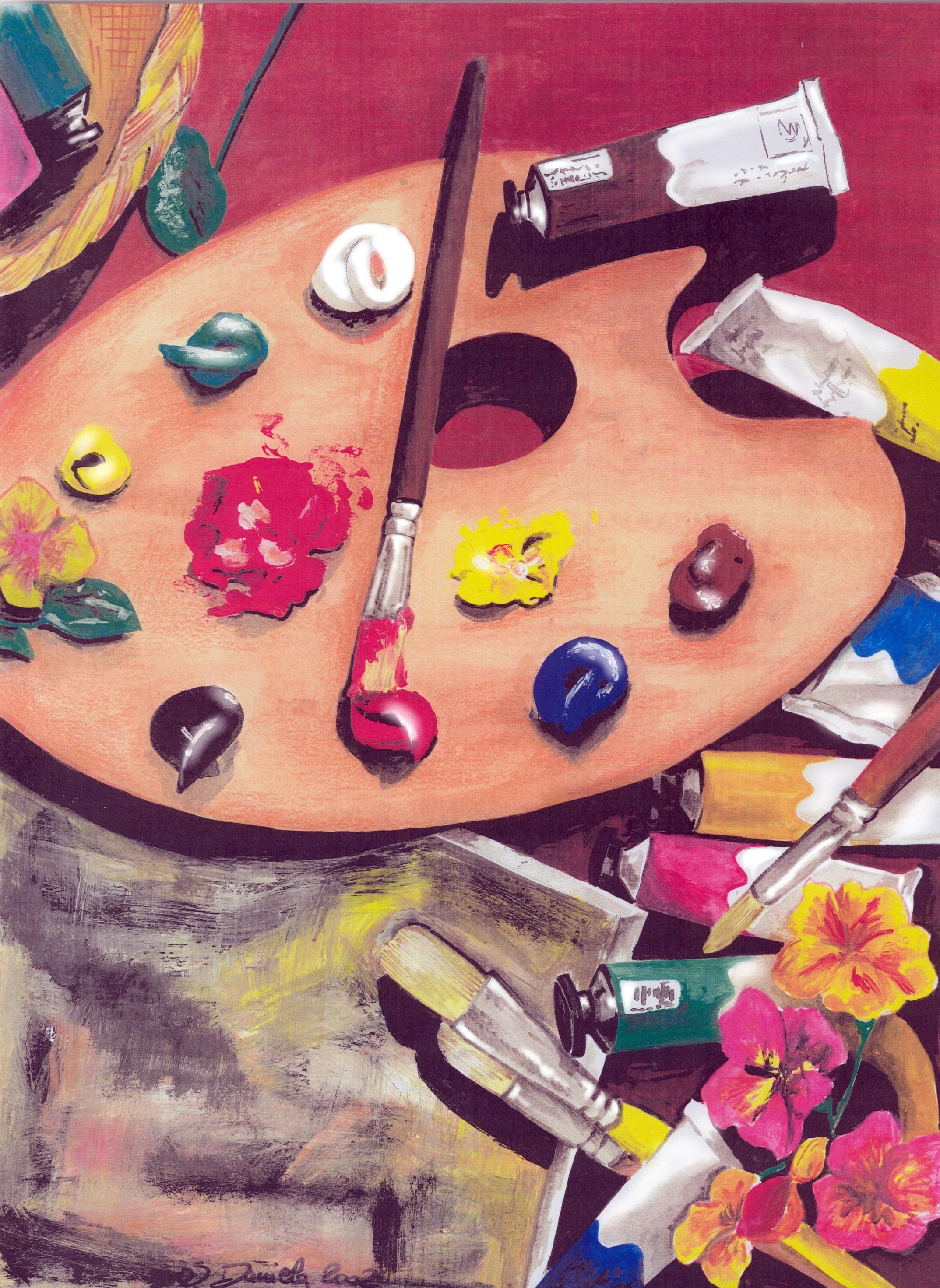 tavolozza di colori arte e pittura
